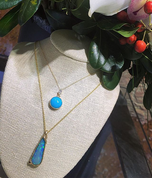 Sleeping beauty turquoise pendant & Australian opal pendant in yellow gold 😍 • • • #handmadejewelry #localbusiness #localjewelry #localjeweler #opaljewelry #turquoisejewelry #finejewelry #yellowgold #champagnediamond #giftideas #giftsforher #holidaygiftideas #downtownbrooklyn #cobblehill #boerumhill #jewelryoftheday