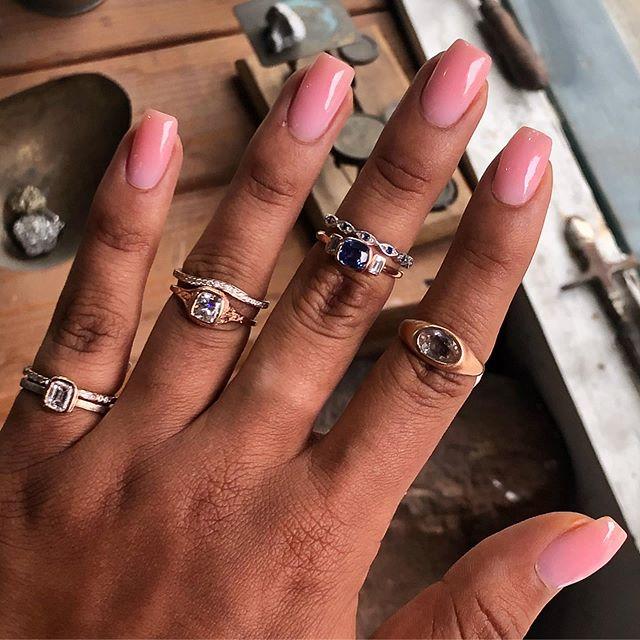 Engagement rings 💍 😍#diamonds#baguettediamonds #sapphires #bezelsetting #wavyband #marquise#yellowgold#whitegold#rosegold#handmade#localjewelry #localbusinesses #downtownbrooklyn #boerumhill #
