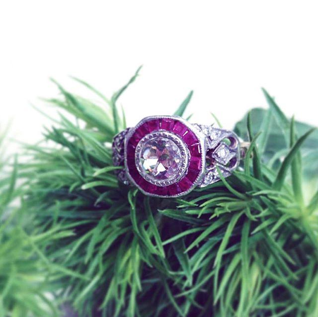 1930's diamond engagement ring with princess cute rubies set in white gold #ellevennyc #rubies#diamond#weddingrings #weddinginspo #brooklyn #brooklynjewelry #localbusiness #localartist #localjeweler #beauty #vintage #vintagering #carrollgardens #diamonds #rosecutdiamond #ruby #original #oneofakind #originalpiece