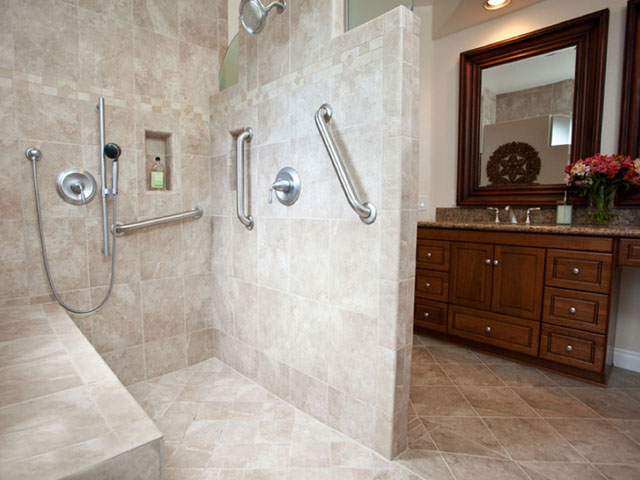 Ayler Construction, Inc. is certified in providing services for barrier-free bathrooms and accessible home remodeling.  There are many bathroom modifications that can be added to your bathroom to increase functionality of your everyday life, including a no threshold shower, a walk-in-shower, a walk-in-tub, bathtub lifts, grab bars, or a bathroom transfer system. These are just some of the universal design and remodeling elements that can provide accessible home improvements and independent living solutions.
