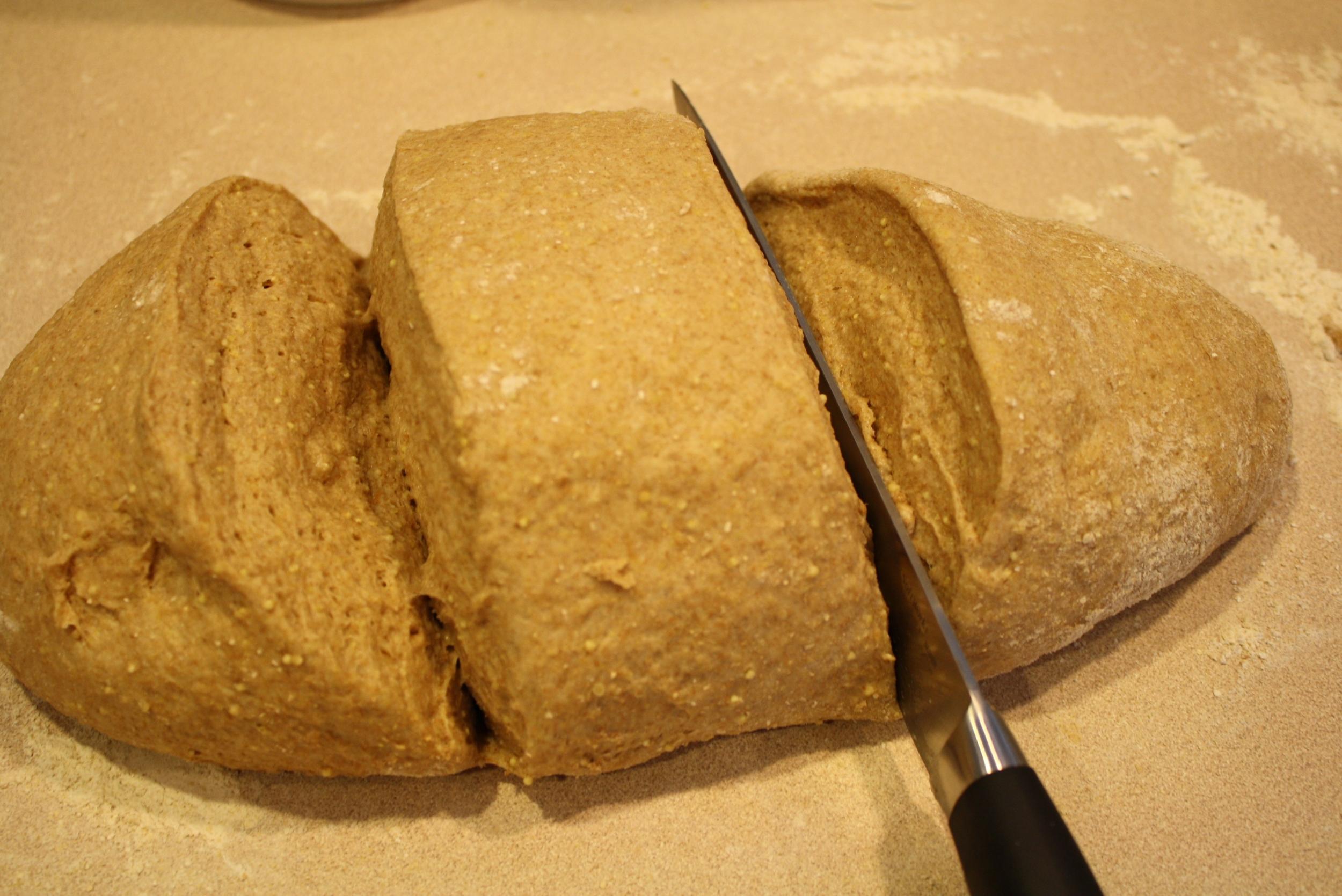 Slice dough into 3 equal (ish) pieces