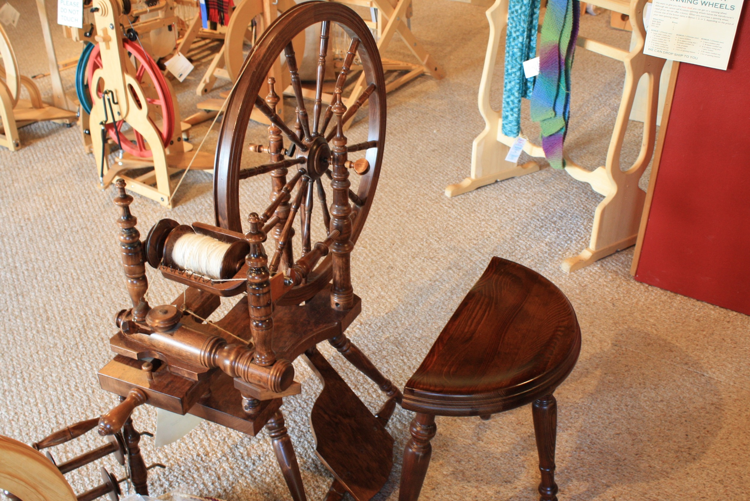 Another gorgeous spinning wheel in the yarn shop