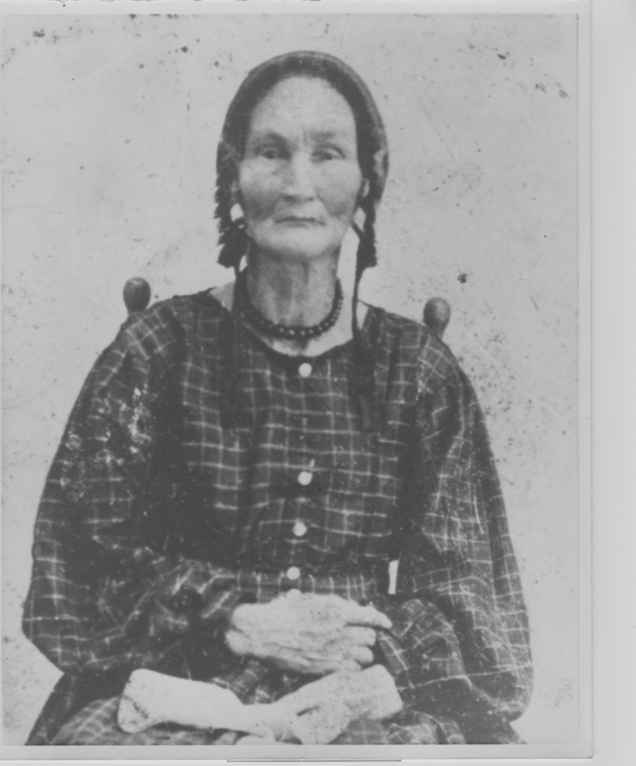 """One of my Cherokee ancestors,  """"Aunt Penny"""" (1807-1880) , in an undated photo taken probably c. 1870,whom I was incredibly lucky to find a photo of online. Sadly, no photos survive in our family of her brother, who was my Great-Great-Great-Grandfather. I'm still looking for a photo of him, and for further genealogy data about his mother, Mary Ann. Mary Ann (1780-1842)was a part-blood Cherokee from North Carolina who married into the family in 1796--at just 16 years of age!She and her husband relocated from North Carolina to Mississippi in the early 1800s, so Mary Ann and her children (Penny and my 3x Great-Grandfather among them)would not have been among those who suffered on the infamous  Trail of Tears .I couldn't  believe  there were genealogy resources for my family going back so far, online no less!! Hooray."""