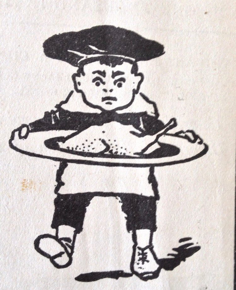 I love this manic little chef, a pen-and-ink illustration from  Woman's Favorite Cook Book  (1902)