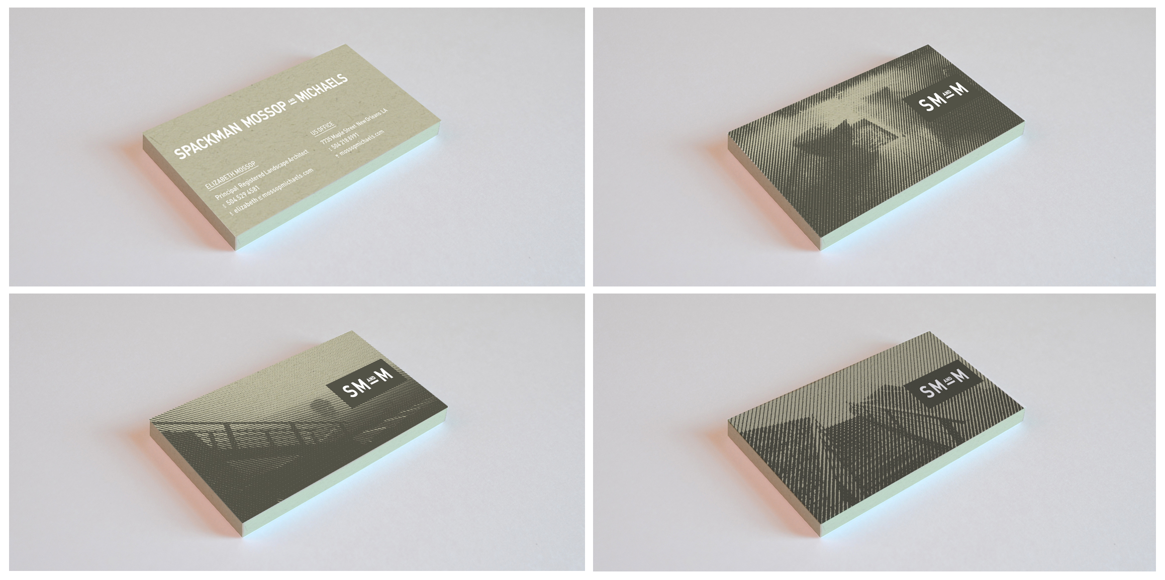 Business cards, screenprinted 2 colors.