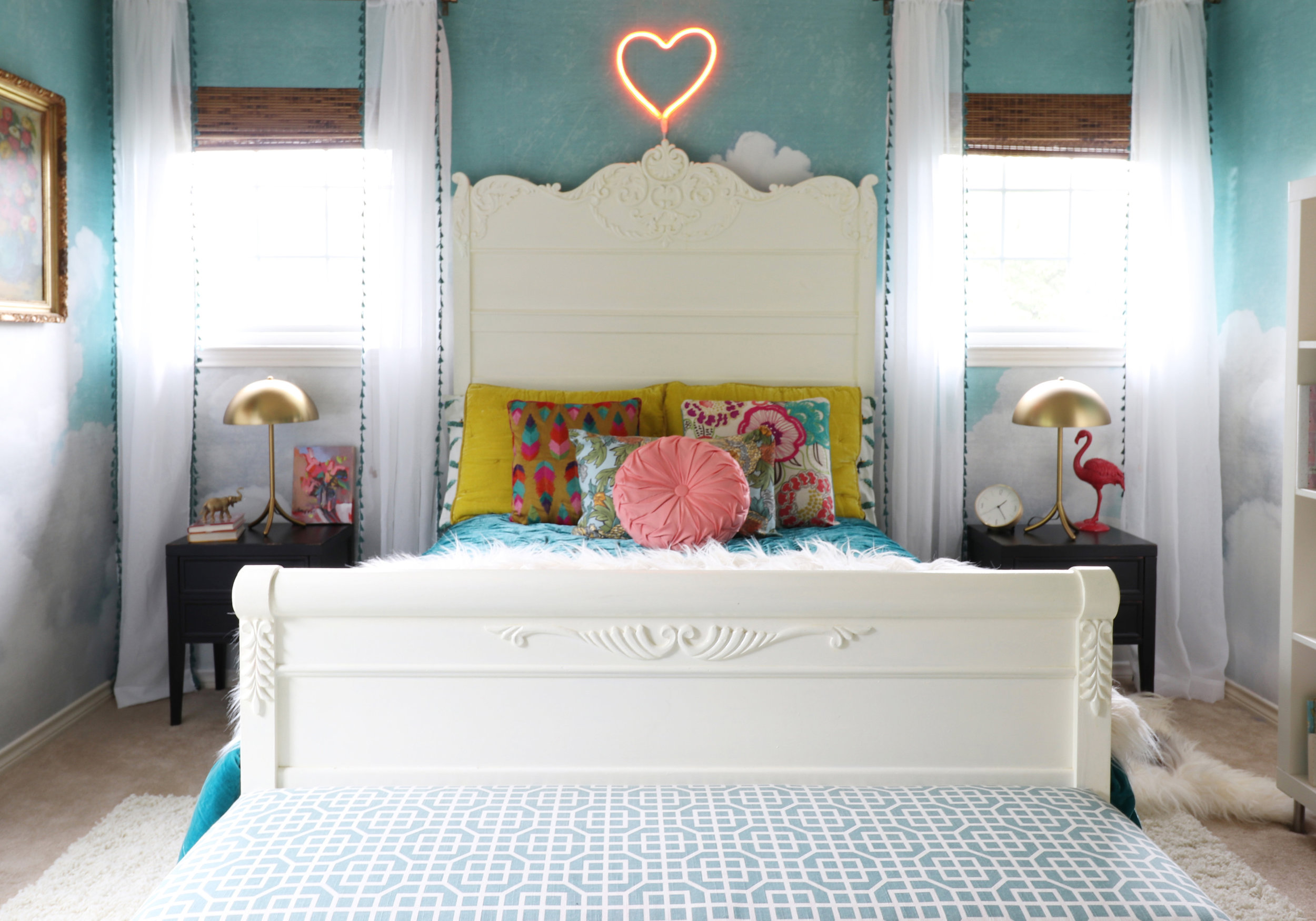girls bedroom makeover with Rebel Walls cloud wallpaper