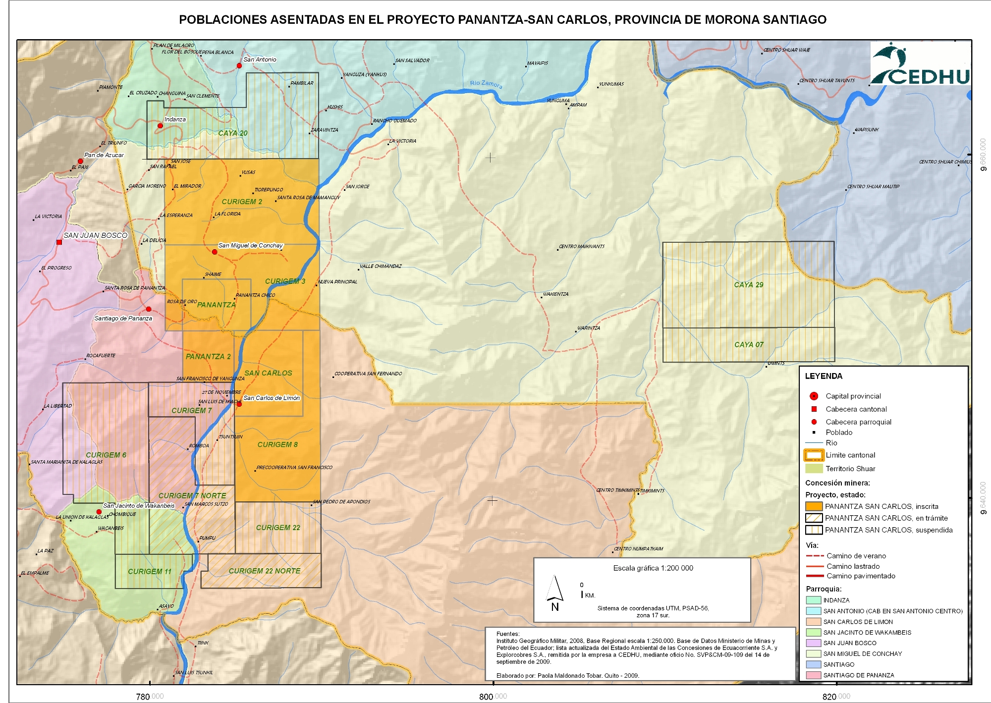 FUENTE: CEDHU - FIDH. Intervención minera a Gran Escala en el Ecuador y Vulneración de derechos humanos, Caso Corriente Resources, 2010