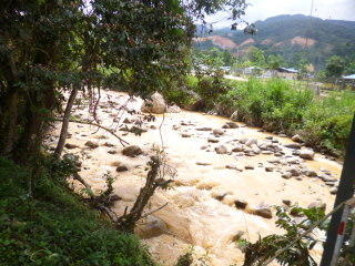 Rio contaminado por el barro