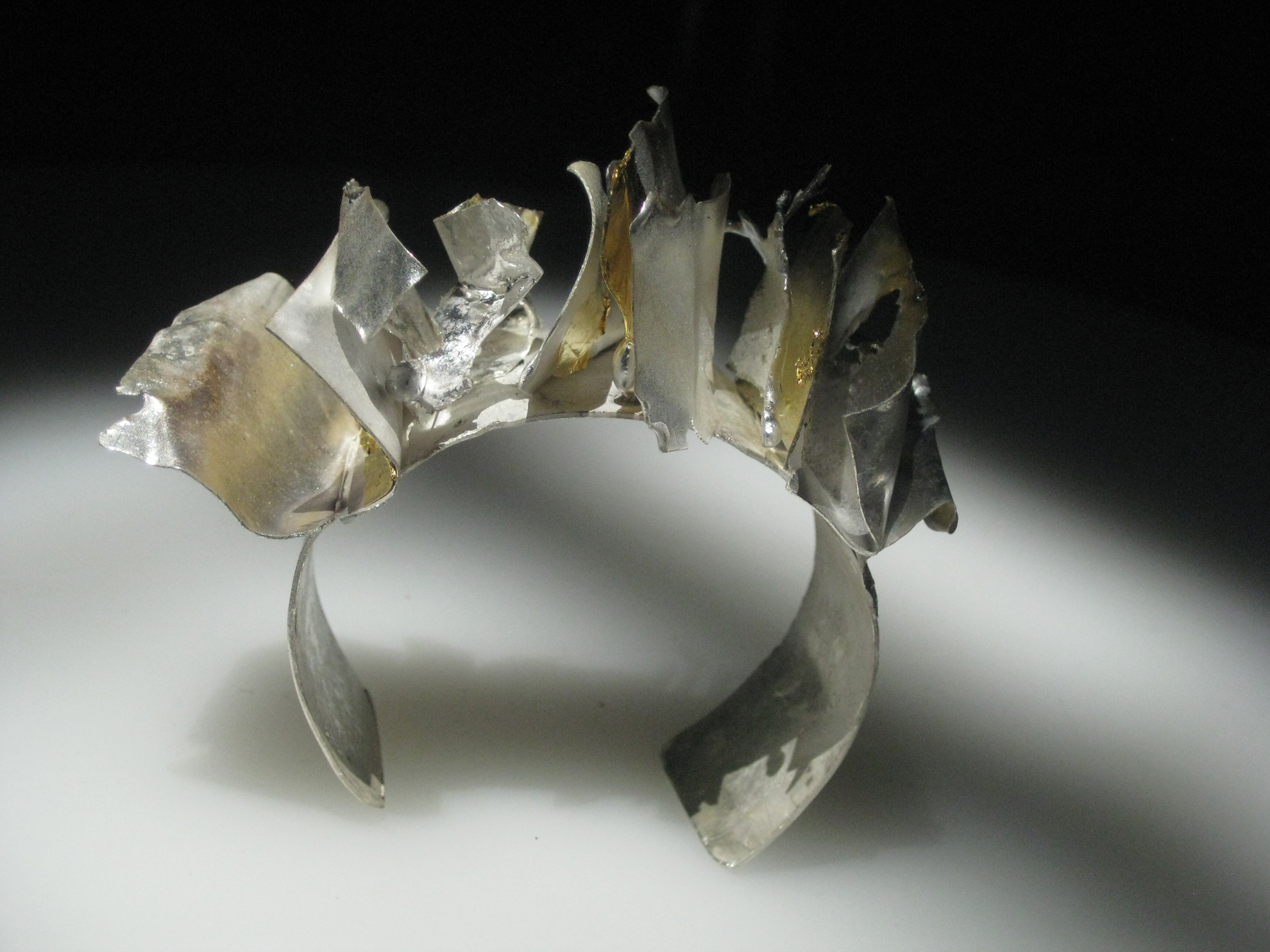 Leaves Cuff Fine silver and 22kt gold keum boo leaves $600