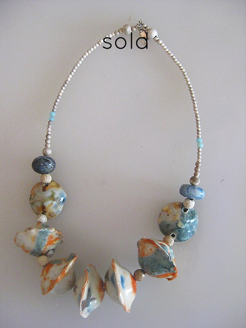 Porcelain and Silver Necklace- SOLD