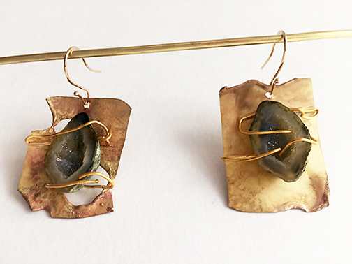 Gold Earrings with Druzy $695
