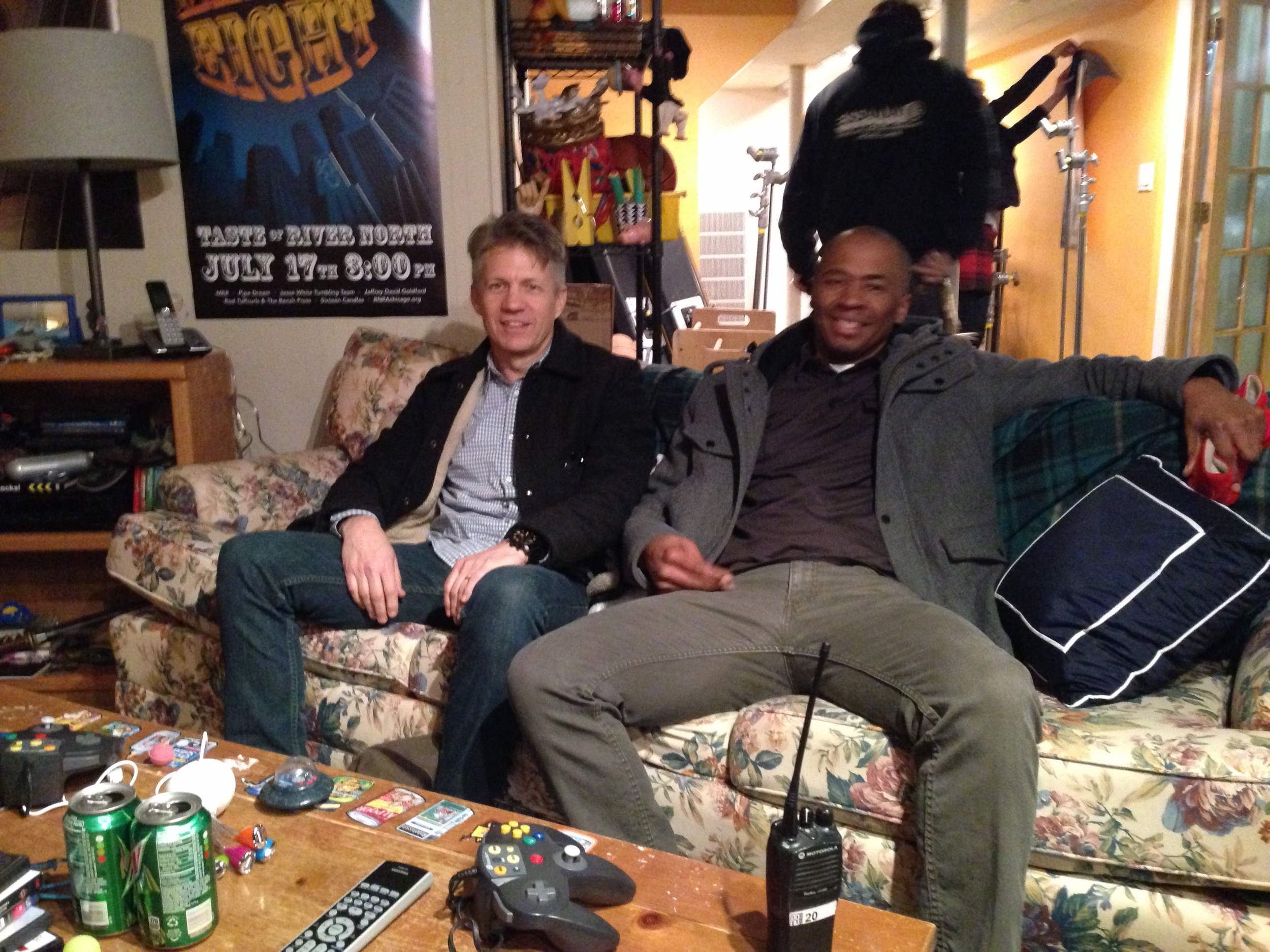 Creatives Troy Jones and Chris Hoover on the set of 'Stu, The Brand Manager.'