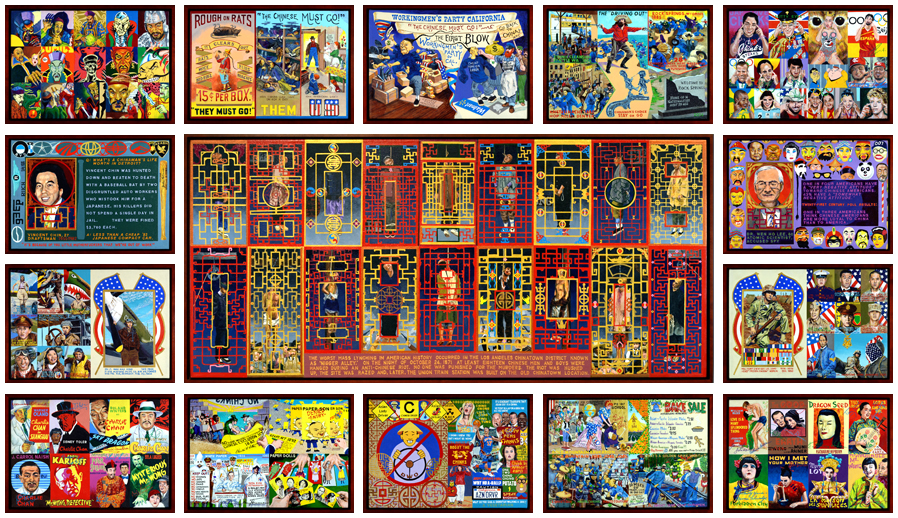 """chinatown  - 2014 - (15 panels) - acrylic on canvas - approximate dimension 53"""" x 91"""""""