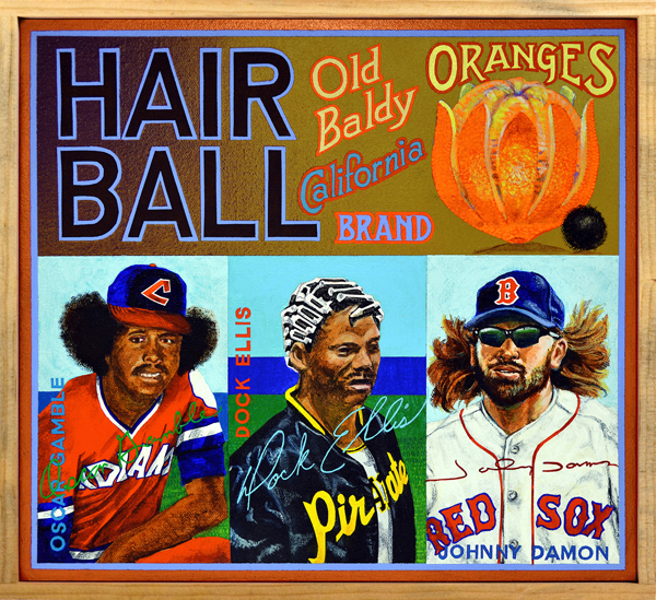 "Hair Ball Brand   Viewers of games played during the 2015 post-season were treated to an amazing display of flowin' growin' locks and beards. Young New York Mets hurler Jacob deGrom looked like a time-traveling Kiss fan from the 1970s while Houston pitcher Dallas Keuchel reminded one of a lost lumberjack. Fashion statements such as theirs were unthinkable in earlier decades. This new flock of the unsheared owe a debt to the wooly wonders of yesterday, who broke free of the fold and drove the revolution in hairstyles. Oscar Gamble (left) had a solid career as a hitter, but is now remembered exclusively for the astonishing Afro he grew in the 1970s. It was so large that his batting helmet frequently popped off. And when a baseball cap did stay on Oscar's head, his hair protruded such that it produced an unintended Mickey Mouse effect. Controversial pitcher Dock Ellis (center), who purportedly tossed a no-hitter while under the influence of LSD, was photographed prior to a game in 1973 with curlers in his hair. Ellis claimed that straightening his hair with curlers helped him sweat more, thereby allowing him to ""load up"" before throwing a spitball. The wind-blown tresses of Boston centerfielder Johnny Damon (right) became an emblem for ""The Idiots,"" the 2004 Red Sox team that overcame the Curse of the Bambino to notch, at long last, a World Series victory."