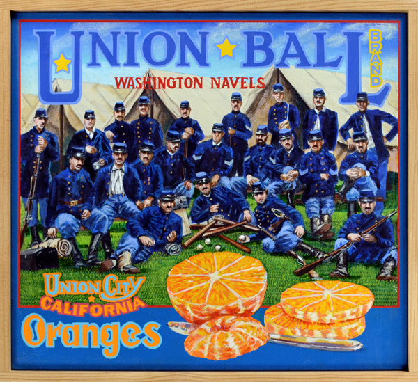 "Union Ball Brand   Baseball soared in popularity during the nineteenth century as Union soldiers from the cities of the north spread its gospel during the Civil War. Contrary to popular belief, baseball is an urban game, not a pastoral creation played out against the background of a mythical Eden. Although some form of ball and bat games were popular everywhere, many rebel soldiers from the agrarian South hadn't known the ""New York Game""—played on a diamond, with codified rules—until Union prisoners of war introduced it to them. These games between soldiers filled in their leisure time and gave them a much-needed respite from the horrors of war. After the conflict, soldiers returned home and spread the game throughout the South and the West. By the 1870s, baseball had taken root everywhere, giving birth to our national pastime."