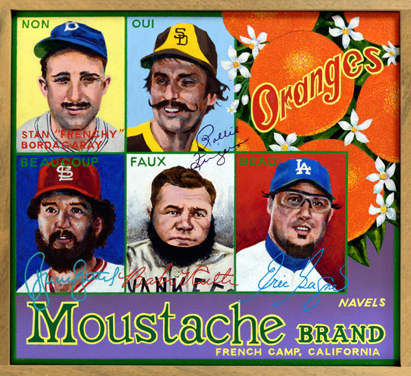 "Moustache Brand   Grooming styles in baseball have always reflected aspects of male fashion in vogue during the era in which players lived. Facial hair was common among ballplayers prior to the early 1900s, for example, but the clean-shaven look dominated for more than six decades after. Stanley ""Frenchy"" Bordagary (top left) sported a moustache during spring training in 1936, but removed it after his manager, Casey Stengel, forced him to do so. Frenchy then blamed his ensuing slump on the shave. The public was thus spared the sight of a Parisian pimp strolling to the plate. When Charlie Finley, owner of the Oakland A's, dreamed up a moustache day promotion during the 1972 season, he offered his players a small bonus if they grew one also. Relief pitcher Rollie Fingers (top center) sported a handlebar variety for the event and liked his  Police Gazette  mien so much that it became his signature look. At bottom right beaucoup bearded Bruce Sutter, fireman for the St. Louis Cardinals in the 1980s, pays hirsute homage to Amish farmers from his hometown of Lancaster, PA.  Babe Ruth (bottom center) models a false beard to blend in with players on the barnstorming House of David team (see the painting ""House of David Brand""). Be-goggled Montreal native Eric Gagne (bottom right) displays a beau-ideal goatee worn while a relief pitcher for the Dodgers in the 2000s."