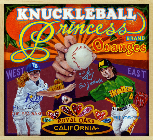 "Knuckleball Princess Brand   Ask any knuckleball pitcher and she'll tell you, ""I don't know where it'll end up. Could go east, could go west, could sail over the catcher and land in the dugout. Who knows?"" For Florida's Chelsea Baker and Japan's Eri Yoshida their knucklers have floated into art. Chelsea Baker made headlines in 2014 when she pitched batting practice against the Tampa Bay Rays while a senior in high school. Her pitches baffled batters, causing several Rays to praise her skill and potential. As a twelve-year-old, Baker tossed two perfect games in Little League play, her jersey sent to the Hall of Fame for display. Eri Yoshida, dubbed ""The Knuckle Princess"" by the press, modeled her sidearm knuckler after Tim Wakefield, who saved his career in Major League Baseball by adopting the pitch. In 2008, at the age of sixteen, Yoshida became the first woman drafted by a Japanese professional team. She played for several pro teams in Japan, and would later pitch professionally in Canada and the United States, earning the distinction of becoming the only woman in history to play men's professional baseball in three different countries."
