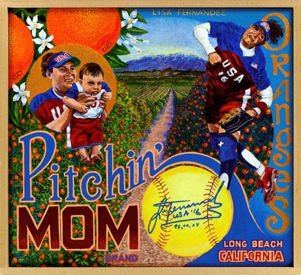 Pitchin' Mom Brand   At the pinnacle of her career Lisa Fernandez (b. 1971) was among the most recognizable athletes in America, man or woman. While a student at UCLA, she almost single-handedly put NCAA Women's Softball on the map, leading the Bruins to a brace of titles and setting multiple pitching records. In 1993, her senior year at UCLA, the four-time All-American led the country in both batting average (.510) and ERA (a microscopic 0.23). Her sizzling underhanded deliveries helped her to a career W/L record of 93‒7, which included a skein of 97 scoreless innings pitched and 42 consecutive victories. In international competition she was equally untouchable: her golden arm propelled the U.S. Women's Olympic softball squad to gold medals in the 1996, 2000 and 2004 summer games. After her playing career ended, she turned to coaching, teaching at softball clinics and motherhood, not in any particular order. In 2012 Fernandez was inducted to the U.S. Olympic Hall of Fame, an honor very deserving for this bitchin' mom.
