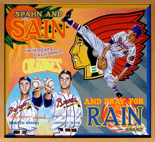 "Spahn and Sain and Pray for Rain Brand (private collection)   During the final weeks of the 1948 National League pennant race, fans of the Boston Braves despaired over the perceived lack of pitching depth on their team. Locked in a tense battle with the Cardinals and resurgent Pirates, the Braves counted heavily on the performance of their top two pitchers, right-handed ace Johnny Sain, and his southpaw counterpart, Warren Spahn. The duo were the subject of a memorable bit of doggerel which appeared in the  Boston Post  on September 14th of that year. Penned by sports editor Gerald V. Hern, the simple poem's opening lines were: ""First we'll use Spahn / then we'll use Sain / Then an off day / followed by rain."" This was soon shortened to the ""Spahn and Sain and pray for rain"" lilt in use today. The Braves had other fine pitchers, Bill Voiselle and Vern Bickford, not included in the poem, one imagines, only because they had metrically unfriendly surnames. In any case Braves' fans rallied around the cry, their pleas and exhortations answered as the team captured its first NL flag in thirty-four years. The Braves dropped the 1948 World Series in six to the Cleveland Indians, but the chant became a part of baseball lore, a fond reminder of the last National League Boston team to appear in the postseason.   SPAHN AND SAIN First we'll use Spahn then we'll use Sain Then an off day followed by rain Back will come Spahn followed by Sain And followed we hope by two days of rain."