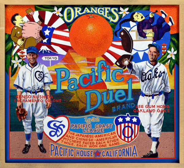 Pacific Duel Brand   During the depths of the Depression, the two worst teams in the Pacific Coast League (PCL), the Oakland Oaks and Sacramento Solons (or Senators), were taking a beating at the gate. In a desperate attempt to boost attendance, the Solons signed a pitcher from the California Nisei leagues, tiny Kenso Nushida, as an appeal to the region's Japanese-American community. Meanwhile in Oakland, the Oaks signed a Chinese-American pitcher, the hulking Lee Gum Hong (who had played under the name Al Bowen), in an attempt to attract fans to their games. Each proved a success with their respective clubs, so it was only a matter of time until both franchise owners decided to pit one against the other in what would be billed as the Sino-Japanese War Battle Royale of the Pacific Coast League. Amid much ballyhoo and excitement, the two squared off in a pair of games during the 1932 season. Each received a no-decision in the first game as both exited early. In the follow-up, Nushida left for an early shower as Hong hung on for a 7‒6 win. The great duel was never repeated, and it really wasn't much of a duel at that. Still, the Chinese can claim the edge in this national battle for baseball supremacy.