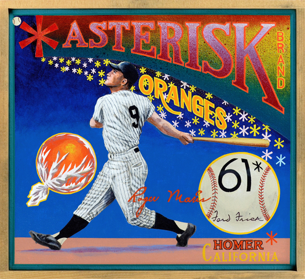 "Asterisk Brand (Baseball Reliquary collection)   In a game ruled by numbers, few possess the magic of ""60""—the number of home runs hit by Babe Ruth in 1927.n a game ruled by numbers, few possess the magic of ""60""—the number of home runs hit by Babe Ruth in 1927. It was once thought that no player would ever exceed that number of homers in a season. And if anyone did, then naturally it be a superstar, a player like Mickey Mantle, for example, not a mere mortal. When the American League expanded to ten teams in 1961, adding eight more games to the schedule, Mantle indeed looked like the odds-on favorite to surpass the Babe. But after an injury sidelined him for the season, the pursuit of the record was taken up by his teammate, Roger Maris. Maris (1934‒1985) was a reserved, hard-working player of very good ability, an All-Star and former MVP who suffered only because he wasn't good copy, unlike the dynamic Ruth or Mantle. When it became clear that Maris would break the home run record, Ford Frick, the Commissioner of Baseball who had once served as a ghostwriter for Ruth, declared that an asterisk would be placed by the name of the player who hit 61 or more homers. The asterisk would indicate that the record was established over the new 162-game schedule, not the previous 154-game slate. That damned little star followed Maris to an early grave."
