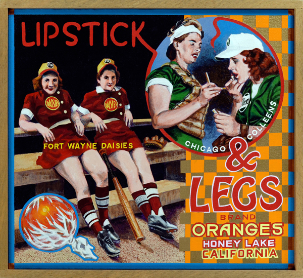 "Lipstick & Legs Brand   At the onset of World War II, major league baseball magnates feared that their business would be deemed non-essential by the federal government. Their concerns were allayed when President Roosevelt issued the so-called Green Light Letter in January 1942. However, chewing gum king Phillip K. Wrigley, who owned the Chicago Cubs, decided to take no chances and created the All-American Girls Professional Baseball League (AAGPBL) as an alternative revenue stream. The young ladies who played in the AAGBPL were chosen as much for their baseball skill as their sex appeal. Garbed in belted, short-sleeve tunics, the players showed plenty of bare leg and arm to mostly male customers, who responded to this titillation in growing numbers. Additionally, the young ladies were schooled in the fine arts of makeup, ladylike comportment and charm. Cigarette smoking was frowned upon, of course, but during a time when everyone smoked no one really thought it unseemly. Although most of the teams were place in second-tier Midwestern cities, such as Ft. Wayne, Indiana, their exploits were known around the country thanks to newsreels and newspaper coverage. Here we see players from the Ft. Wayne Daisies and the Chicago Colleens displaying their ""assets."""