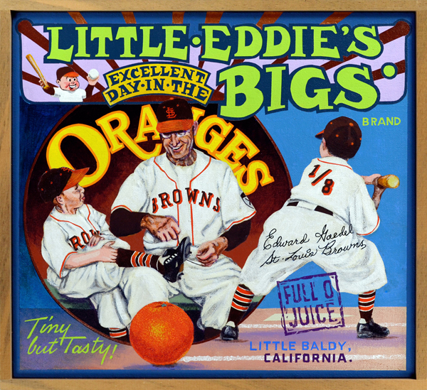 "Little Eddie's Excellent Day in the Bigs Brand (private collection)   Wee Eddie Gaedel—a 3' 7"" midget stuntman and vaudeville actor—had only one plate appearance in the major leagues, but looms large still in baseball lore. Signed to a player contract by Bill Veeck, owner of the St. Louis Browns, Gaedel appeared as the lead-off batter in the second game of a 1951 doubleheader against the Detroit Tigers. Veeck warned Gaedel not to swing at any pitch; if he did, Veeck promised, he would be shot by a sniper lurking in the grandstand. Gaedel obediently took four straight pitches, all balls, from Tiger pitcher Bob Cain. As soon as he reached first base Gaedel was removed for a pinch runner. In the central image Gaedel receives pre-game attention from Browns manager Zack Taylor. At lower right, in one of baseball's most famous photographs, Gaedel—dressed in a child's uniform with the fraction 1/8 stitched on his back—cocks his toy bat as he awaits the first pitch. Gaedel was later hired by Veeck for other promotions during the 1950s. Eddie met a tragic end after being beaten up outside a bar in 1961."