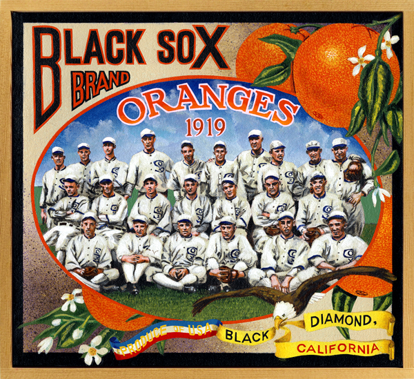 "Black Sox Brand (private collection)   Without gambling and gamblers professional sport as we know it today wouldn't exist. That's a fact. Huge sums were routinely won, and lost, by betting on the outcome of early bare-knuckled prize fights, horse races, foot races, dog and cock fights—any activity that had a yes/no, win/lose, this/that outcome lured bettors in droves. And wherever huge sums were at stake, there were those who attempted to cash in by ""fixing"" the results. Gambling affected baseball almost immediately upon the game's growth as a professional or semi-professional enterprise. The earliest known fixed game took place in 1865 between the New York Mutuals and Brooklyn Eckfords; three Mutuals players admitted to throwing the game by committing a series of obvious errors during a Brooklyn 11-run inning. A sign posted outside a ballpark told customers in the late-nineteenth century all they needed to know: ""No Game Played Between These Two Teams Is To Be Trusted."" As the century turned, betting at ballparks was endemic. Despite this, traditional histories of baseball point to the fixing of the 1919 World Series as an anomaly. It wasn't. Eight Chicago players, some more culpable than others, conspired with gamblers bankrolled by the evil genius Arnold Rothstein to throw the series in favor of the inferior Cincinnati Reds. These ""Black Sox"" were exonerated by the Chicago courts, but were subsequently banned from further play by Commissioner Kenesaw Mountain Landis, newly installed in that position by owners who feared that the public would not support an activity perceived as ""unclean."" That some of these same owners may have enjoyed betting on games was conveniently forgotten."