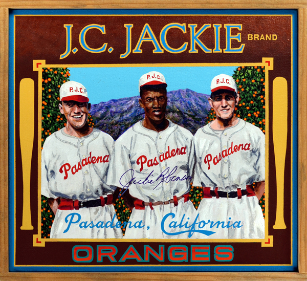 "J.C. Jackie Brand     Home Grown -   Each generation produces a multi-sports star whose deeds force us to re-examine our definition of greatness. Jim Thorpe was one such athlete, as was Bo Jackson. At mid-century, Jackie Robinson was widely considered the most gifted athlete in America; many contend that he was not only the best, but also the most important athlete of the twentieth century. The two paintings in this series celebrate Robinson's achievements as a college sports star at Pasadena Junior College (PJC) and UCLA. Robinson (1919‒1972) was born in Georgia but moved with his family to Pasadena while still in diapers. Encouraged by his older brothers Frank and Mack (who won a silver medal at the 1936 Berlin Olympics, finishing second to Jesse Owens in the 200 meter event), Jackie immersed himself in sports. Having earned varsity letters in four sports—track, basketball, football and baseball—while attending John Muir High School, he enrolled at PJC (now PCC) where he excelled at the same four sports. In 1938, he was named MVP of the junior college baseball circuit in Southern California, a considerable feat for a black youth playing with and against predominantly white athletes. He enrolled at UCLA after the death of his beloved brother Frank, and once again demonstrated his athletic prowess, becoming the first athlete in school history to receive varsity letters in four sports. He was an outstanding running back for the Bruins football team, won the NCAA Track & Field Championship in the long jump, and was a dynamic member of the school's basketball squad. Robinson would later claim that baseball was his ""worst sport"" at UCLA, a curious admission from one who would later re-write baseball history."