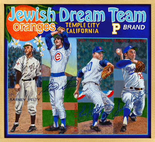 "Jewish Dream Team [pitchers]     Dream Team -   If one were asked to create a fantasy roster composed of Jewish players it would include many of the gentleman seen here. Arranged according to position, the pitchers on this dream team include Barney Pelty, Steve Stone, Ken Holtzman and the incomparable Sandy Koufax, who famously declined to pitch on Yom Kippur. At catcher and first base are Harry ""The Horse"" Danning and powerful Hank Greenberg, ""The Hebrew Hammer."" The infield features the curious selection of shortstop Lou Boudreau, who was raised as a Catholic despite his mother being Jewish, followed by keystone sacker Ian Kinsler and third baseman Al Rosen. In the outfield are Shawn Green, Lipman ""Lip"" Pike (the first Jewish pro player) and Sid Gordon. On the bubble are four players whose Jewish heritage has been contested: Rod Carew, a native of Panama whose first wife was Jewish, and who may or may not have converted to Judaism; Deadball Era pitcher Erskine Mayer, whose paternal grandparents were German Jews while his maternal lineage can be traced to the Mayflower; shortstop Buddy Myer, who claimed that everyone assumed he was Jewish because of his surname; and steroid user Ryan Braun—who would surprise no one if he claimed to be an extraterrestrial working for the Church of Scientology—whose dad was Jewish."