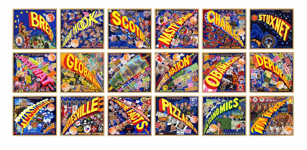 "Ben Sakoguchi -  Orange Crate Label Series:  ""Words"" - acrylic on canvas - 10"" x 11"" (2017)"