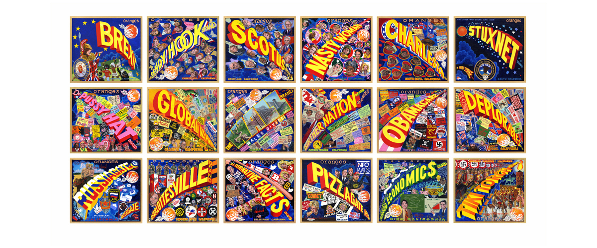 "ORANGE CRATE LABEL SERIES ""WORDS""  - 2017 - (18 PANELS FROM A WORK-IN-PROGRESS) - acrylic on canvas  10"" X 11""   canvases  v"