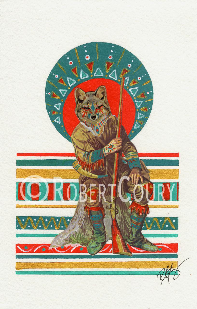 """Mojave Mercenary"" (10x12) Acrylic & Collage - $250"