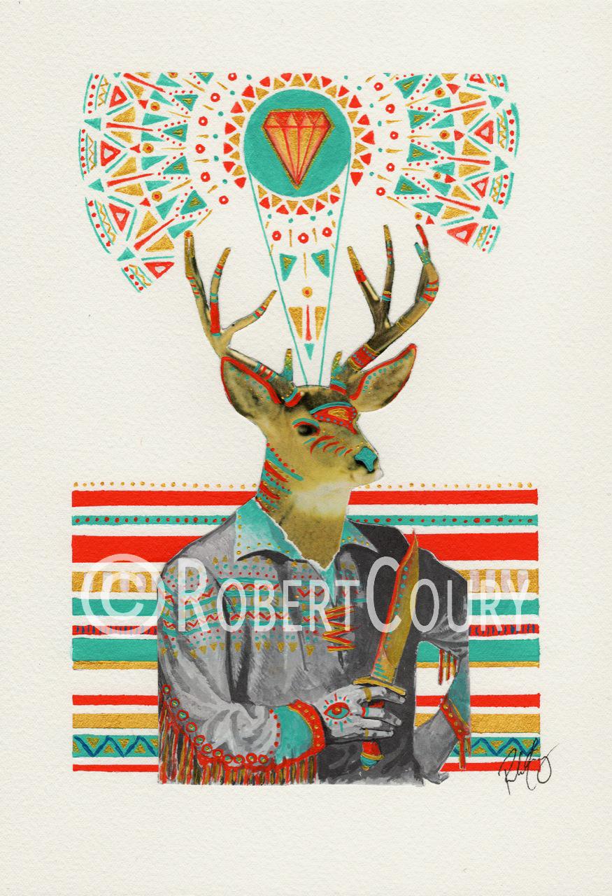 """Redwood Chief"" (11x14) Acrylic & Collage - $350"