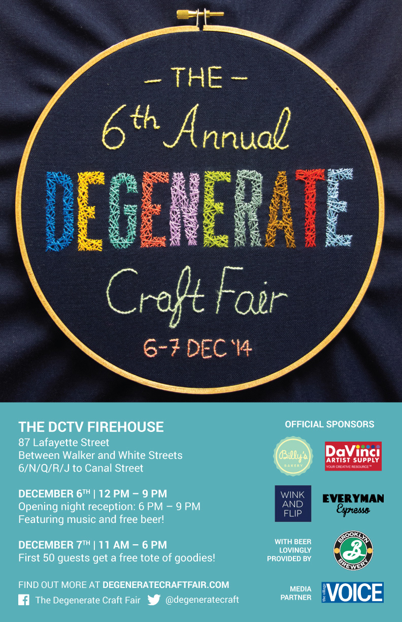 Poster for The 6th Annual Degenerate Craft Fair in 2014