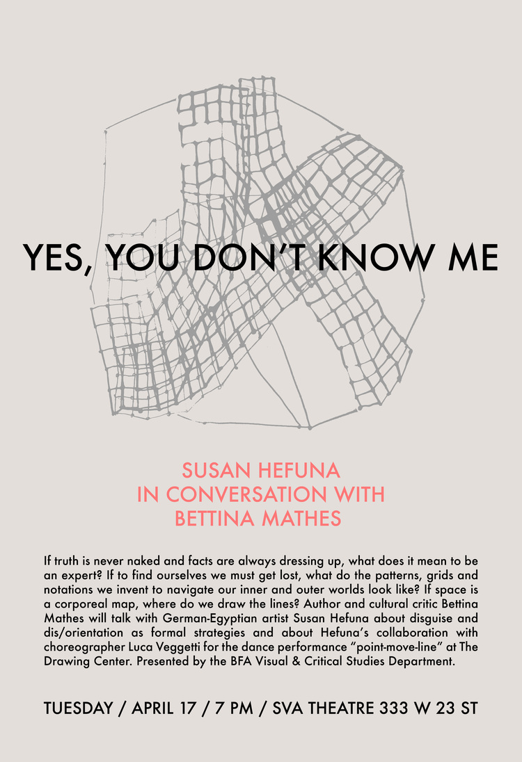 Poster for a talk organised by the Visual & Critical Studies Department, School of Visual Arts