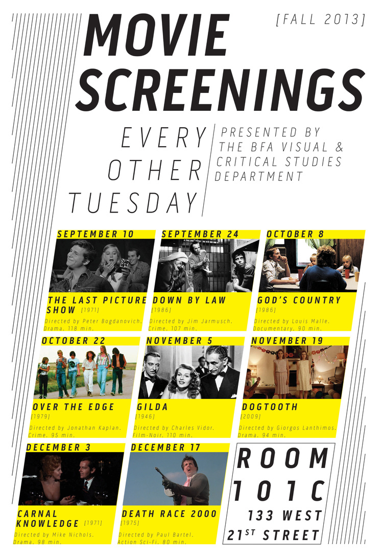 Poster for a film programme organised by the Visual & Critical Studies Department, School of Visual Arts