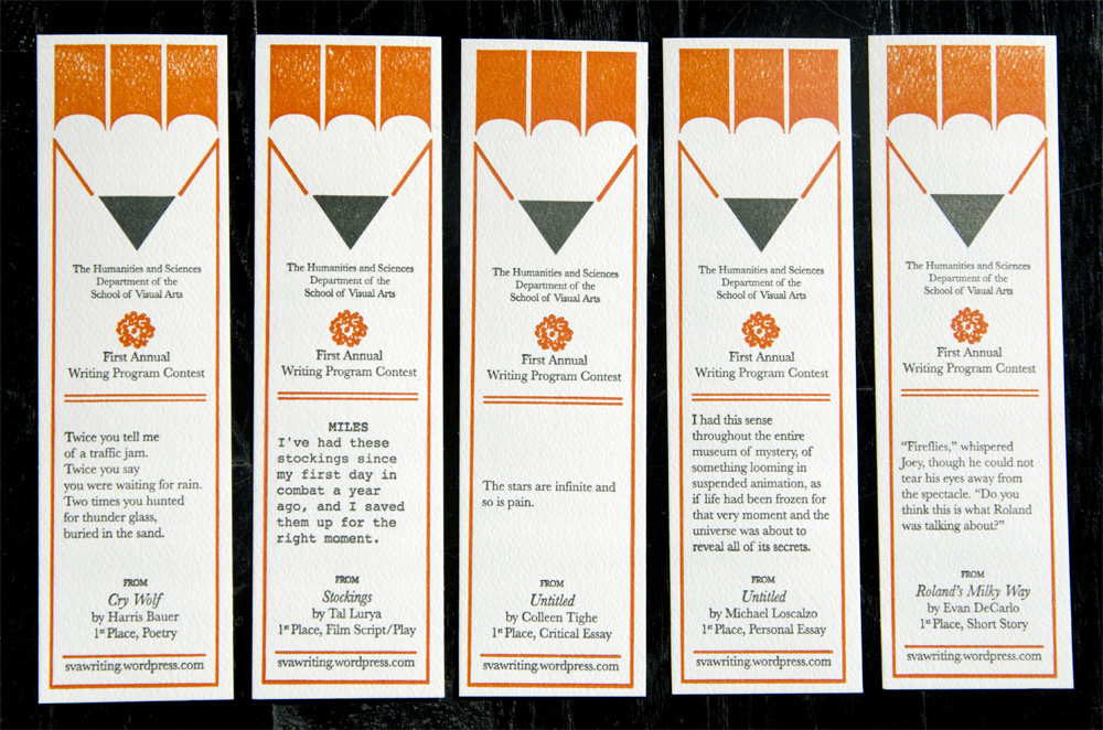Commemorative bookmarks featuring winning entries of the 1st Annual SVA Writing Program Writing Contest, School of Visual Arts