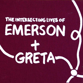 THE INTERSECTING LIVES OF EMERSON & GRETA - Berny Tan x Sal SeahA diagrammatic visualisation of Sal Seah's short story 'Emerson & Greta,' in the form of a handmade, screenprinted book