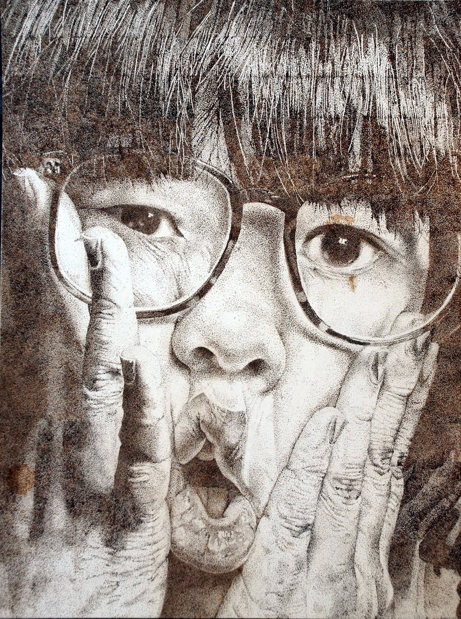 Self-portrait (2010) Walnut ink