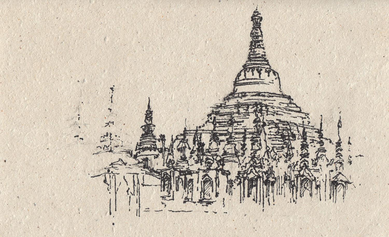 Shwedagon Pagoda, Yangon, Myanmar (2016) Ink