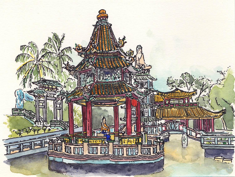Haw Par Villa, Singapore (2017) Ink, watercolour