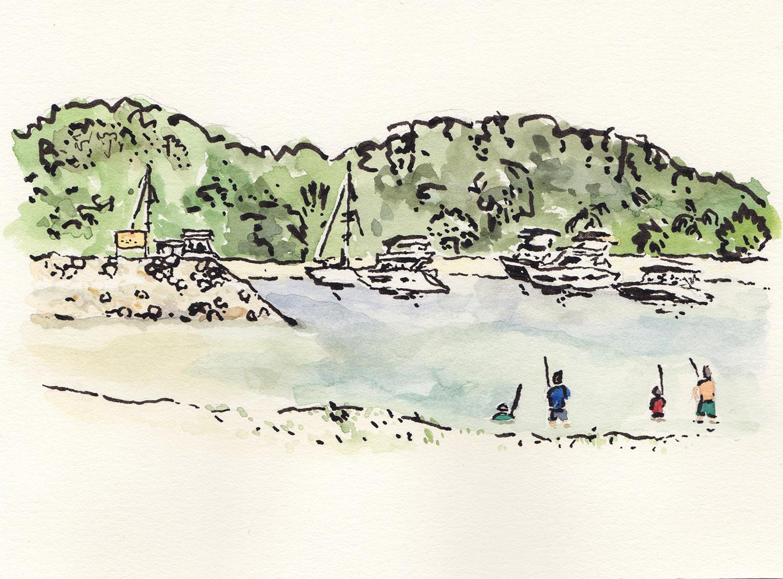 Lazarus Island, Singapore (2017) Ink, watercolour