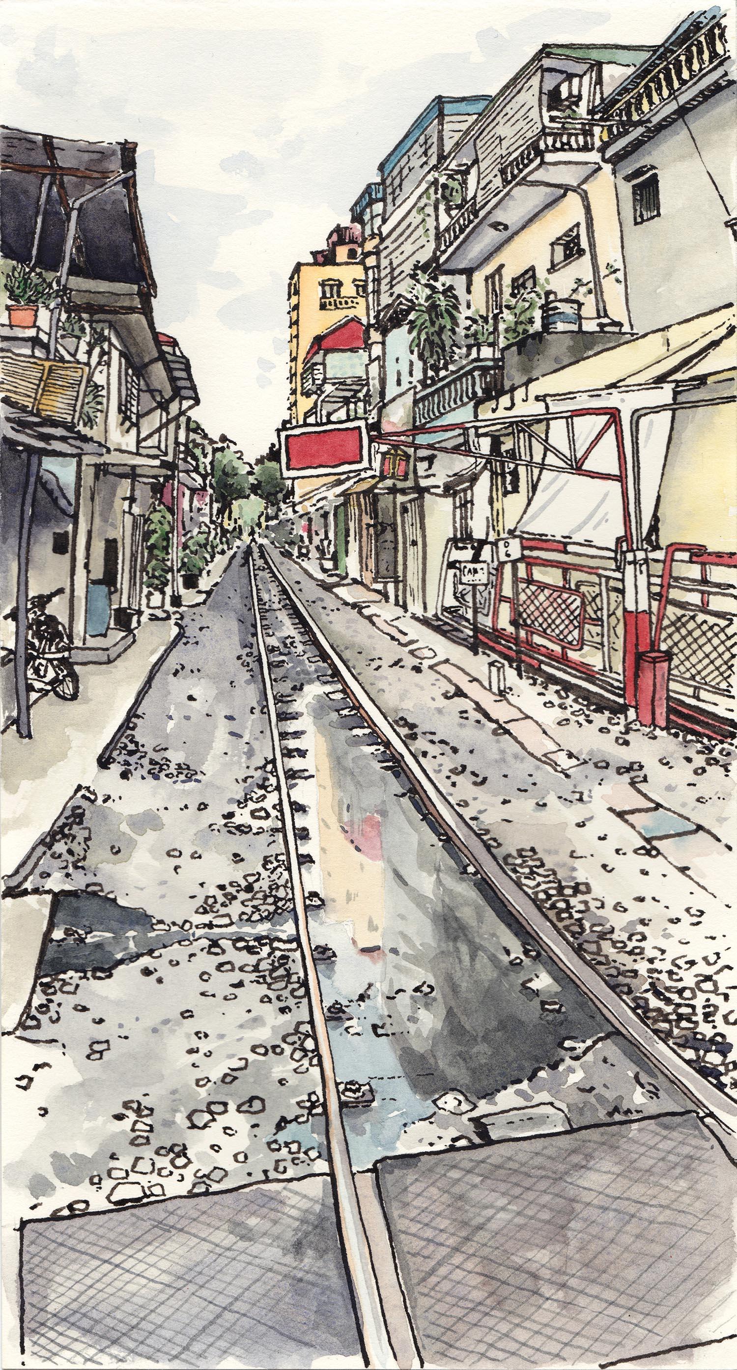 Hanoi Train Street, Hanoi, Vietnam (2017) Ink, watercolour