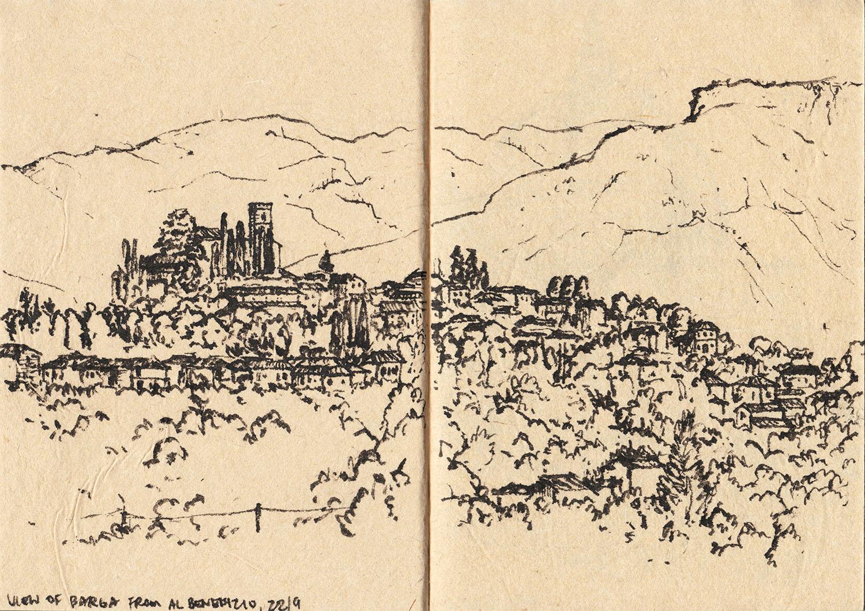 View of Barga from Al Benefizio Farmhouse, Tuscany, Italy (2017) Ink