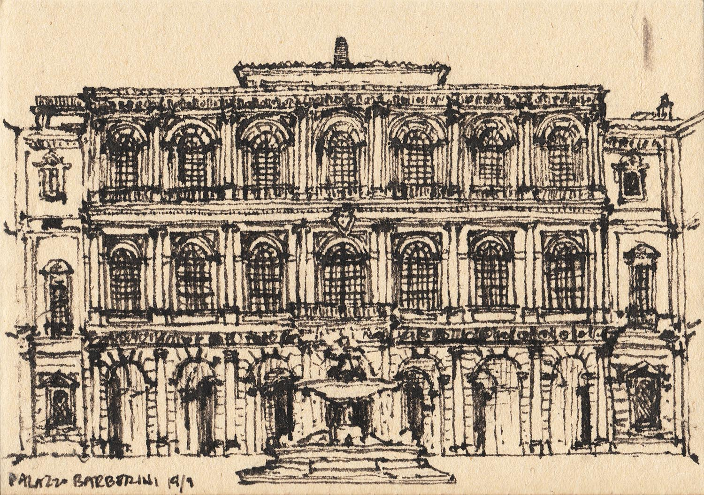 Palazzo Barberini, Rome, Italy (2017) Ink