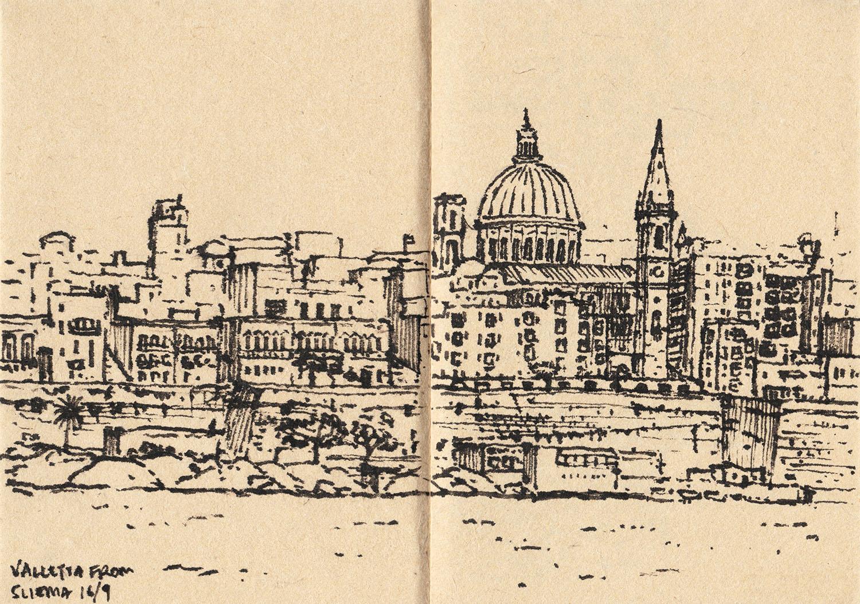 View of Valletta from Sliema, Malta (2017) Ink