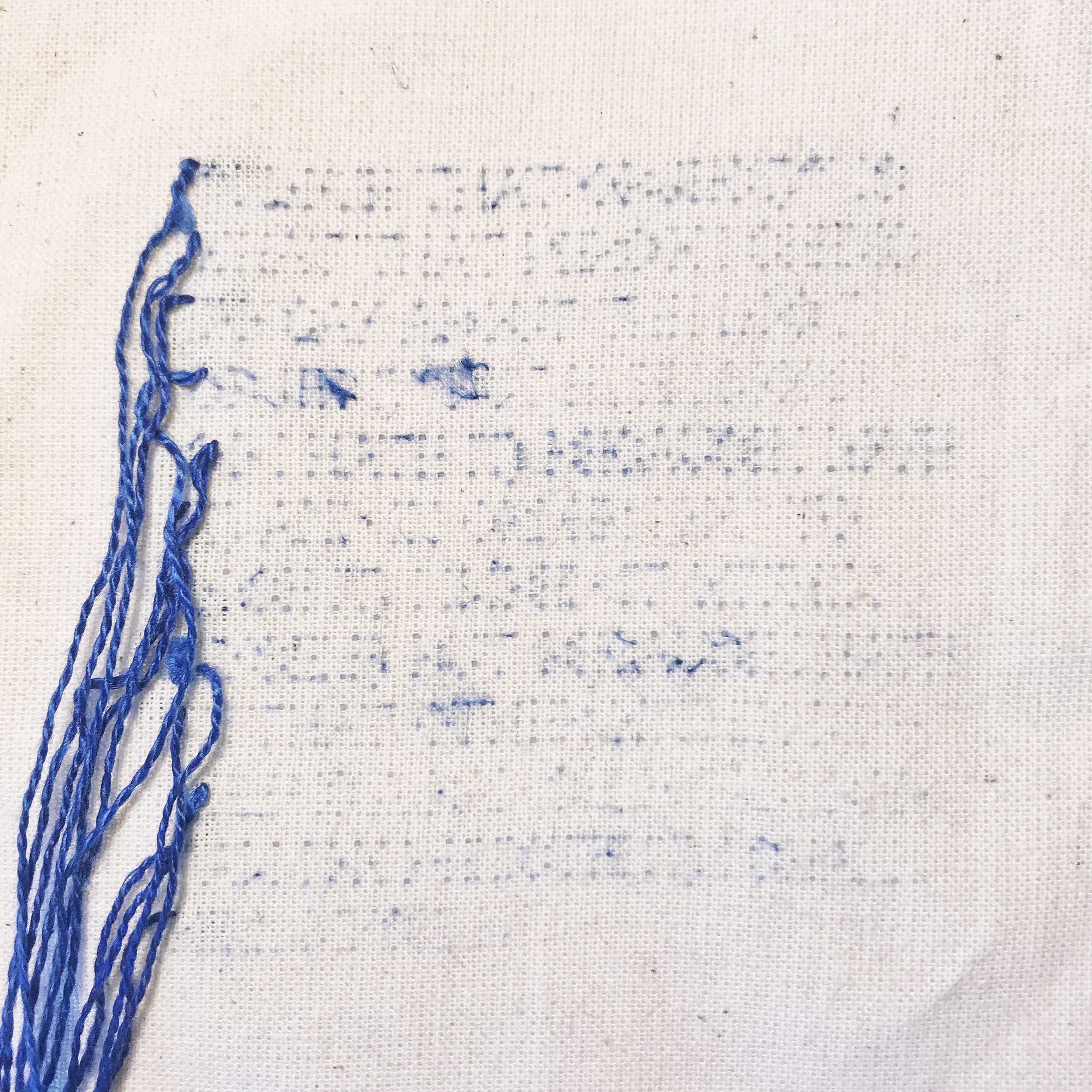 [UNTITLED MEMORY PROJECT]   Created in response to a class called  Transcultural Memory  in the MA Contemporary Art Theory programme at Goldsmiths, University of London, I am stitching a series of five quotes from texts such as Julia Kristeva's  Black Sun: Depression and Melancholia  and Sigmund Freud's  Mourning and Melancholia . After each piece is complete, I then unpick the entire quote, leaving behind only the traces of the stitched text in the form of fibres caught in the weave of the fabric. The pieces will be paired only with a citation of the original source text.