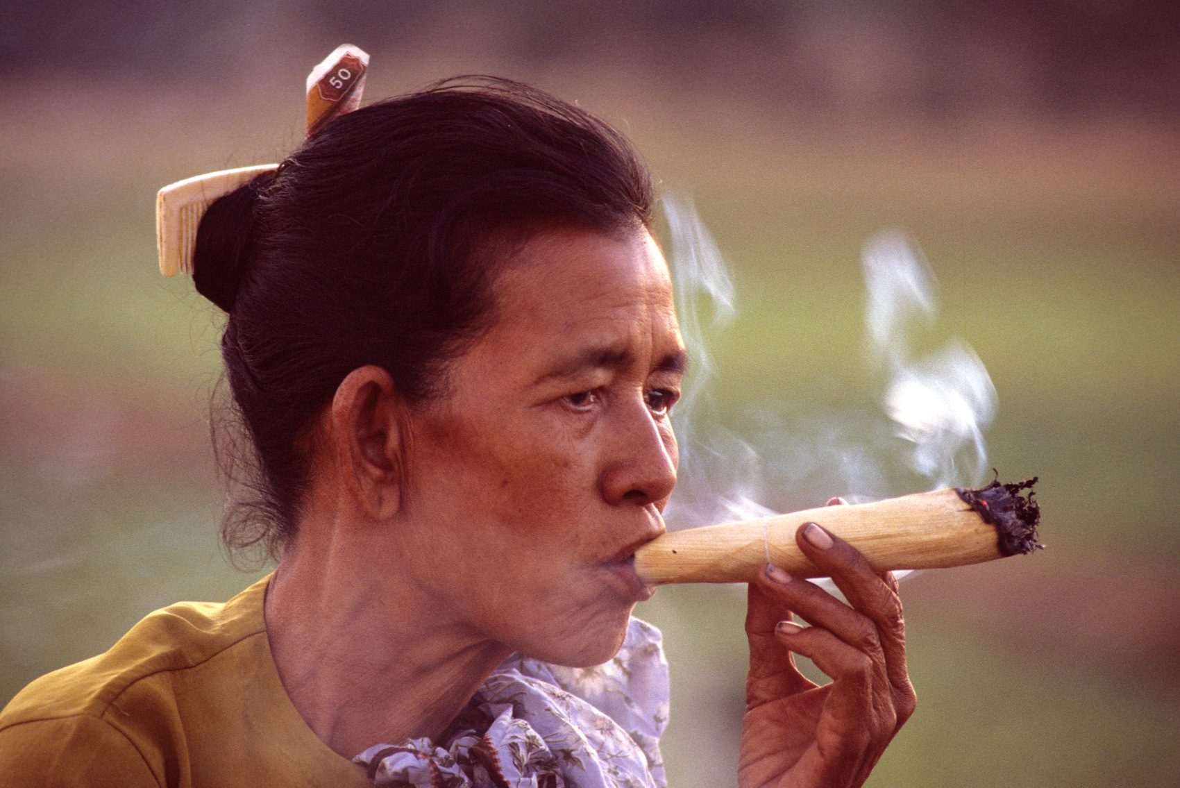 Smoking a Cheroot, Myanmar