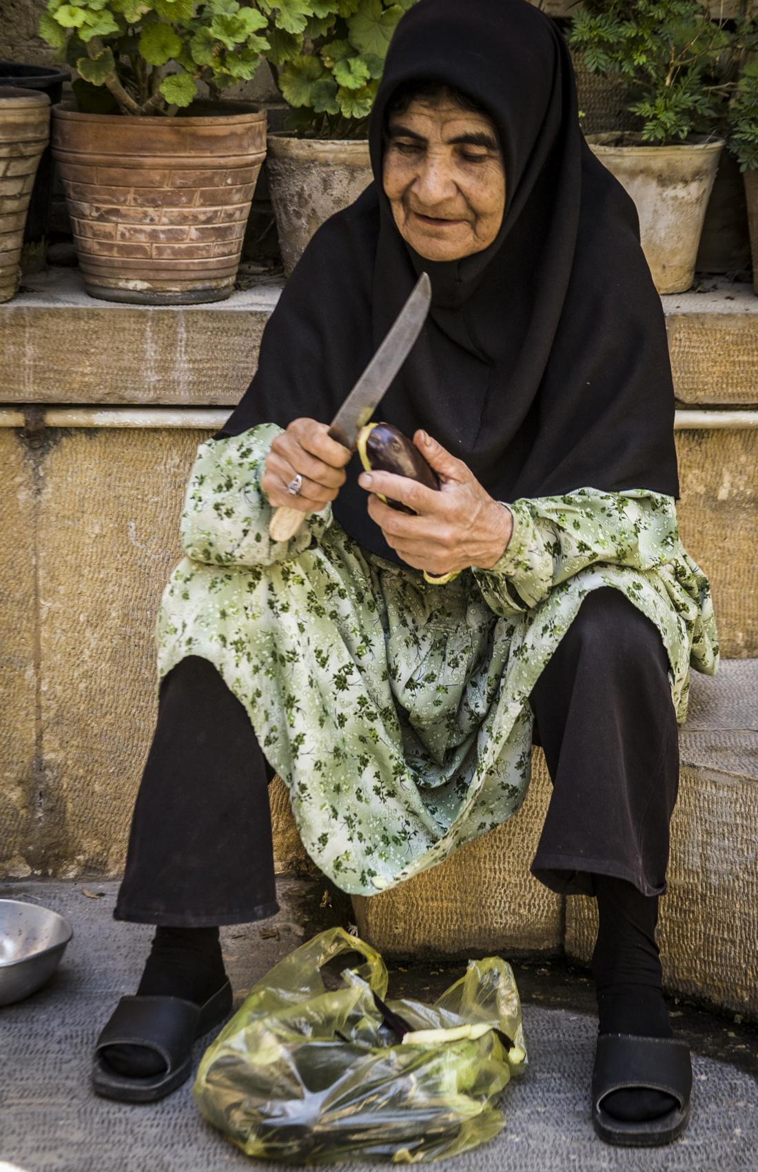 Peeling eggplant, Shiraz